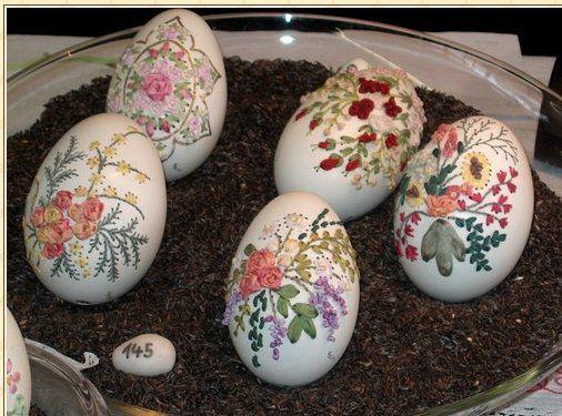 Вышивка лентами по яичной