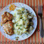 Картофель вареный с отбивными