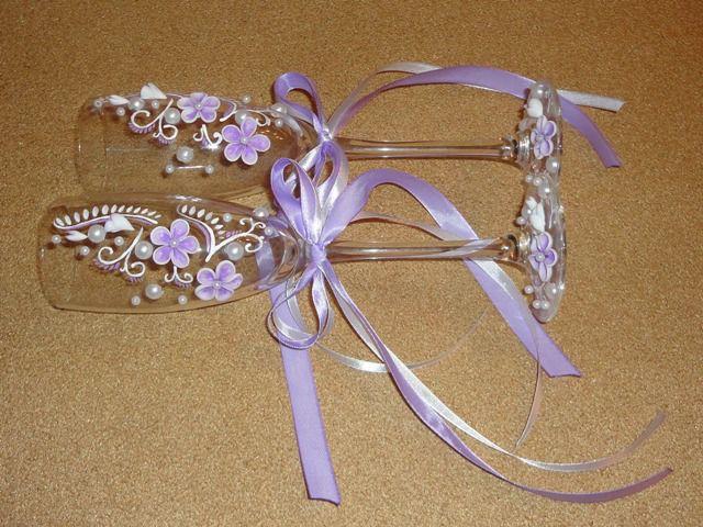 Свадебные бокалы украсить своими руками