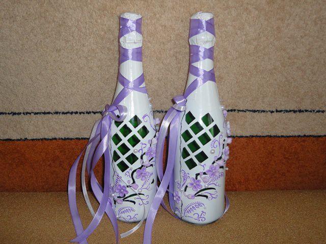 Как украсить своими руками бутылки шампанского на свадьбу