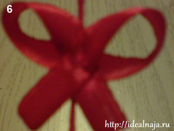 Пришиваем бантик к цветочной ножке