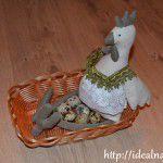 Курочка тильда в корзинке с яйцами