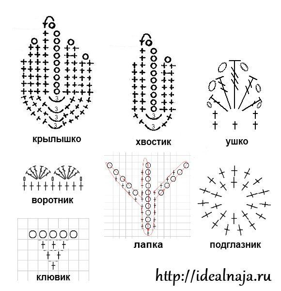 Схема вязания элементов для совы крючком.