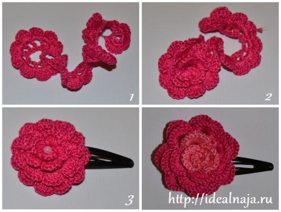 Как сделать розу крючком