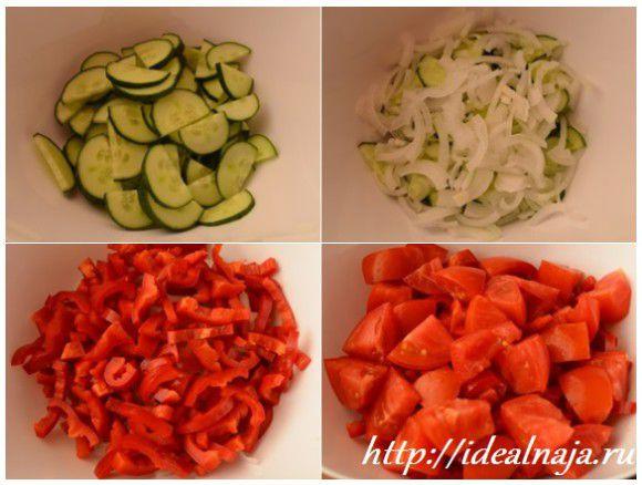 Овощи нарезаем крупными кубиками и соломкой.
