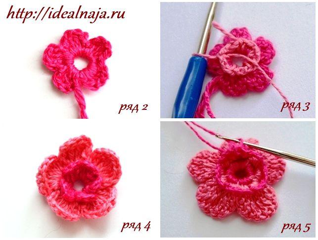 вязания объемной розы