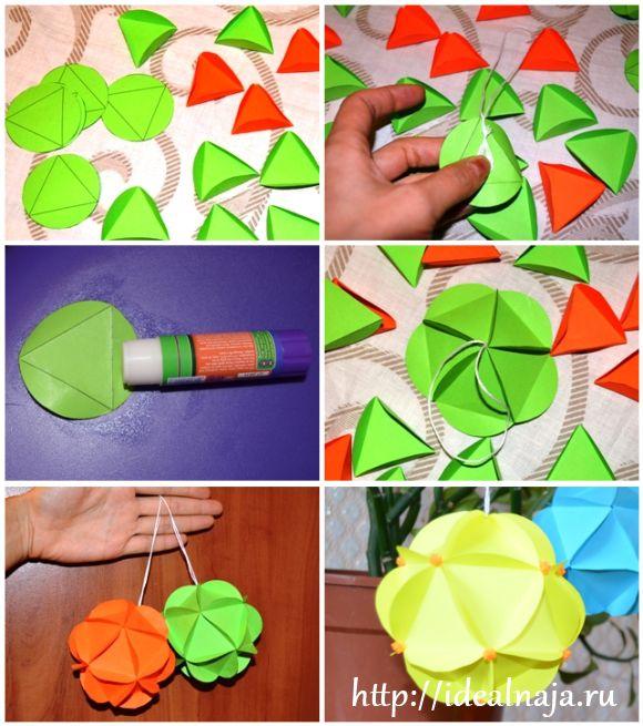 Как сделать шарик из бумаги на елку своими руками