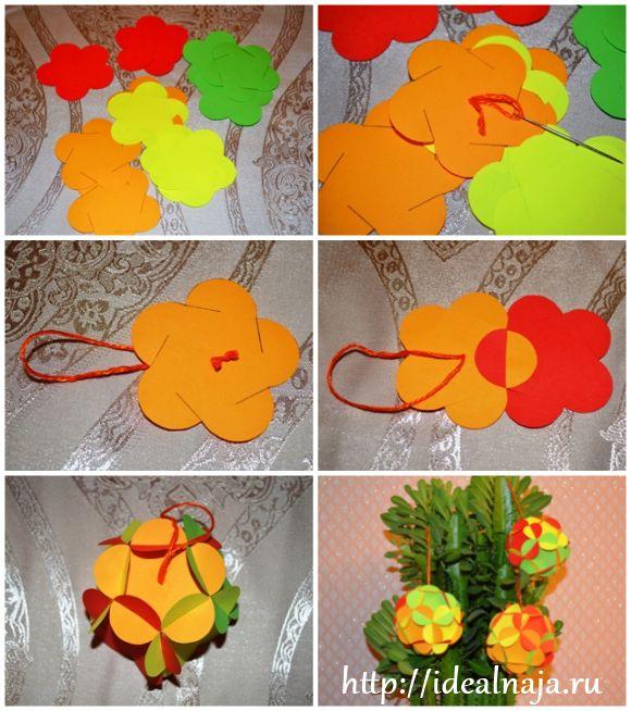 Как сделать шарики из бумажных цветов по шаблону