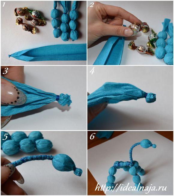 Как сделать лошадь из конфет ч1