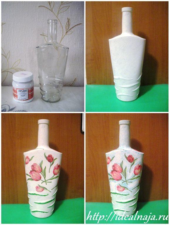 Ваза из 3 банок - Поделки из банок, а также их декор, роспись, декупаж (100 фото)