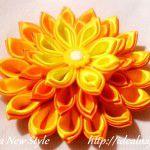 Многослойный цветок канзаши из острых лепестков