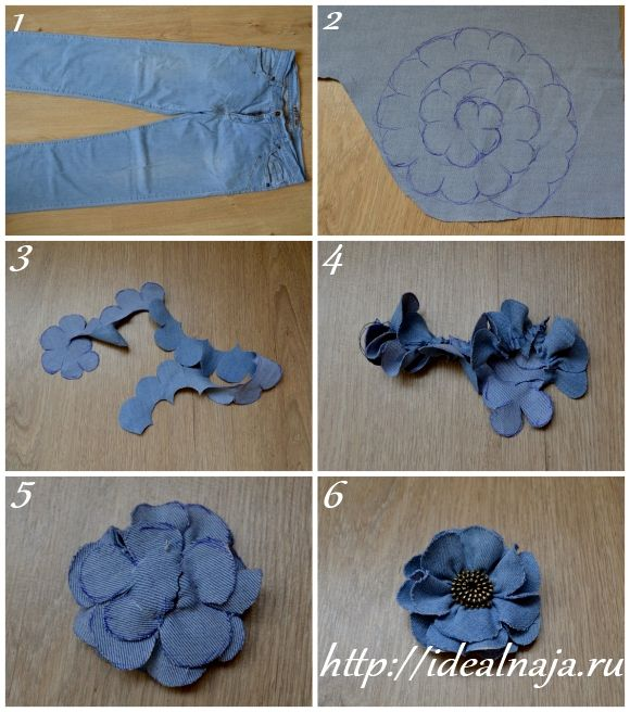 Как делать цветы из ткани джинс