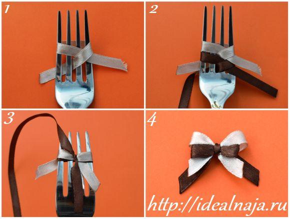 Как сделать бантики из ленточек своими руками фото 563