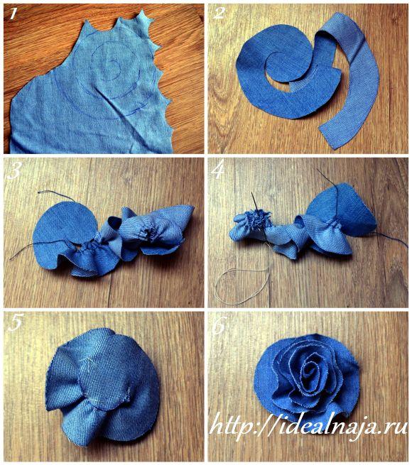 Как сделать цветы из ткани джинс