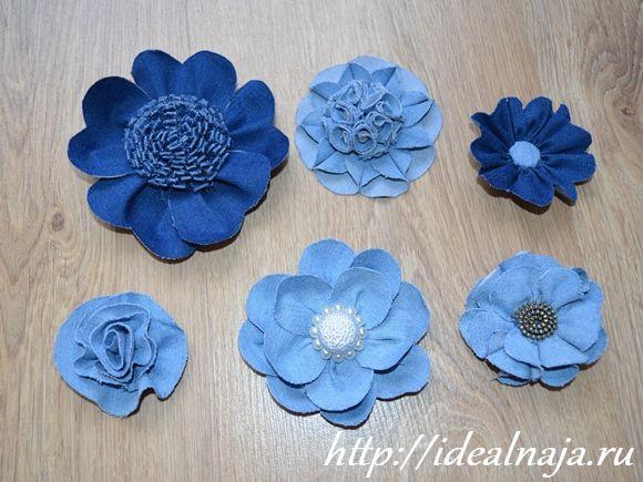 Цветок из джинсы шитье мастер класс