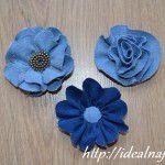 Цветы из ткани джинс