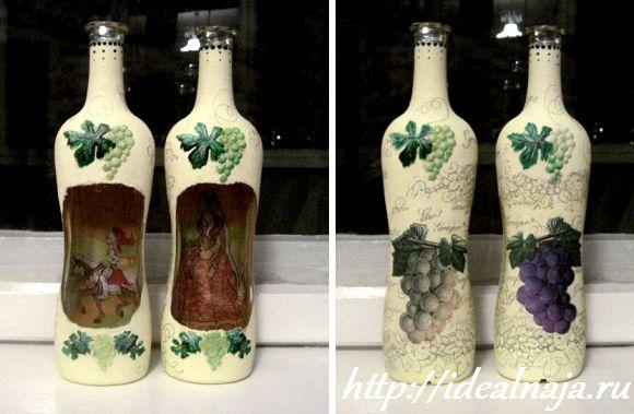 Раскрашиваем выступающие элементы бутылки акриловыми красками