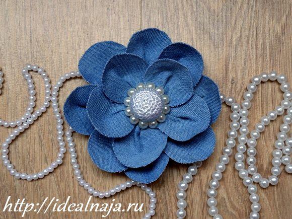 Цветок из джинсы