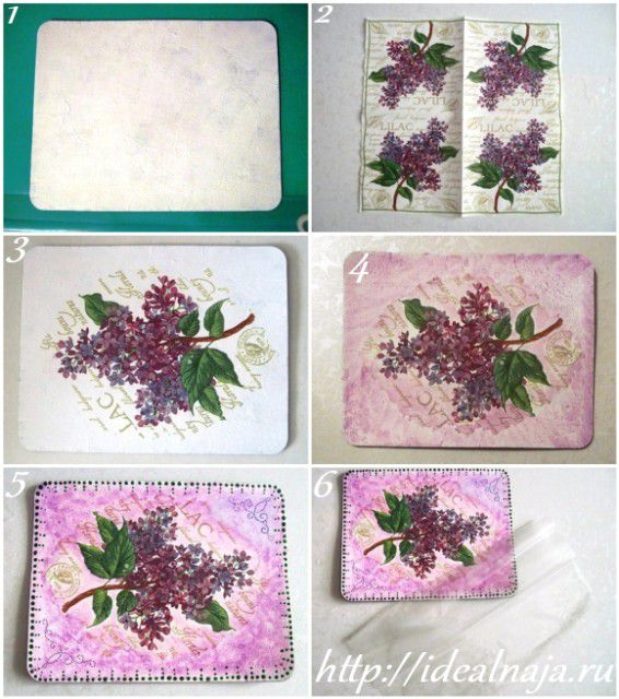Реставрация коврика для мышки в технике декупаж