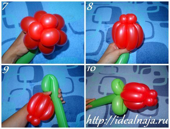 Цветок тюльпан из воздушных шаров
