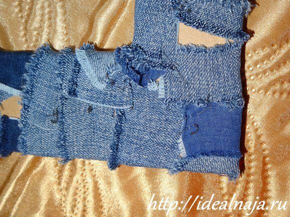 Изнанка рамы из джинса