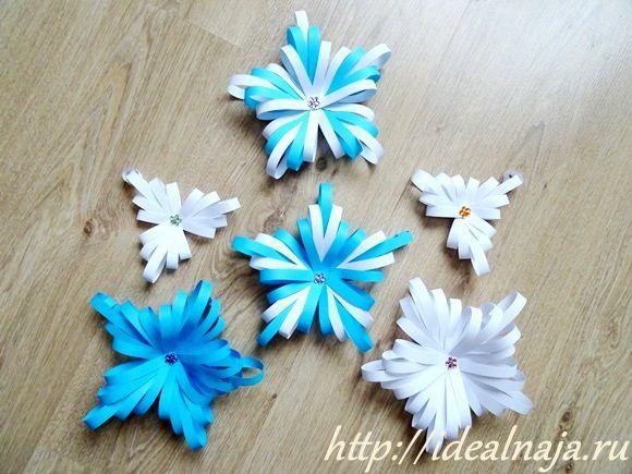 Варианты снежинок из бумажных полос
