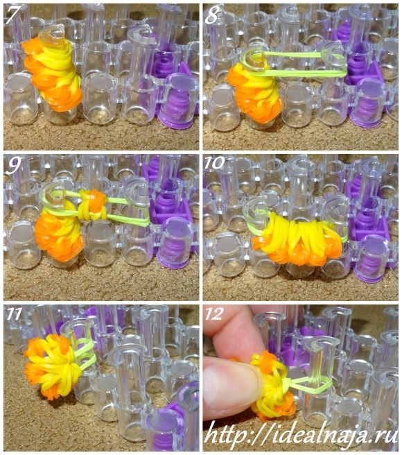 Кольцо цветок из резиночек ч.2