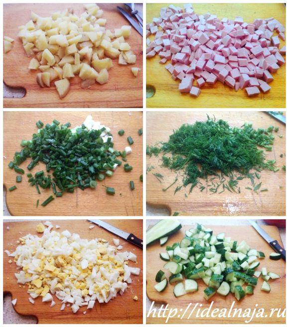 Ингредиенты для окрошки на кефире