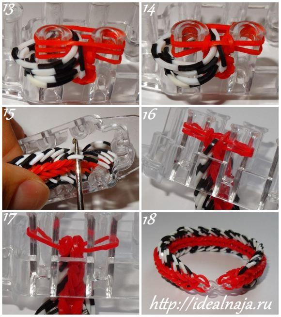 Как сплести браслет Шестизвенный рыбий хвост ч.3 из резинок