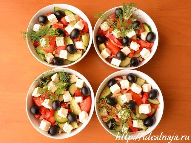 Греческий салат с ветчиной