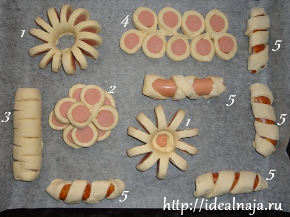 слоеное тесто с сосиской рецепт с фото