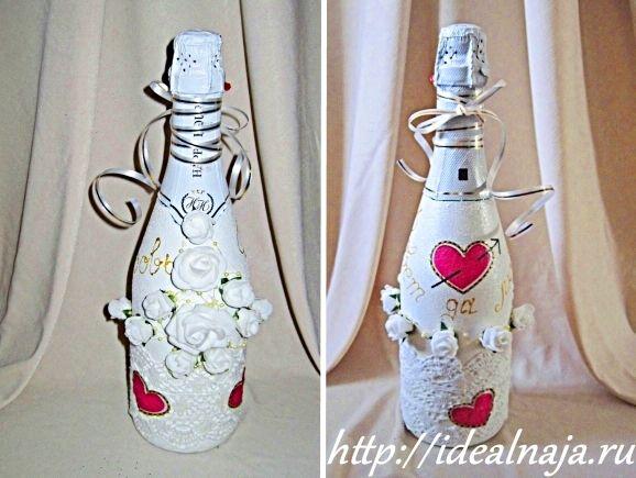 Свадебная бутылка шампанского своими руками фото 799