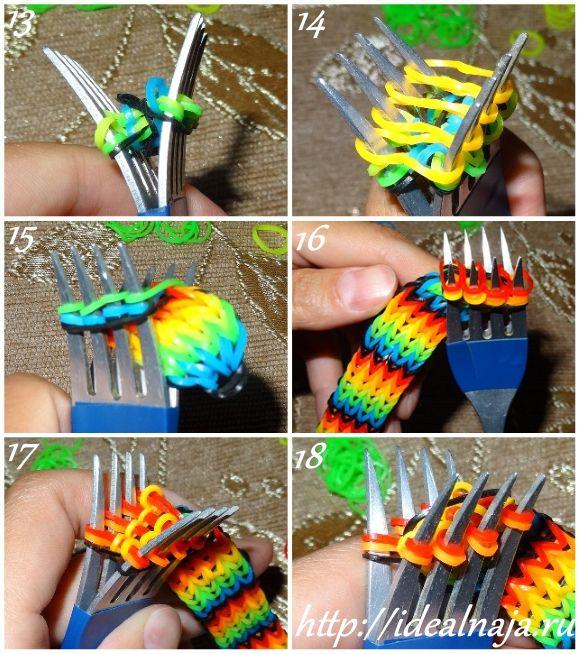 Как сделать резинки для браслетов на вилке 71